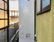 丸型の電気温水器を設置場所を変更してエコキュートへ取り替え