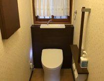 最新の収納棚付きトイレへ取り替え