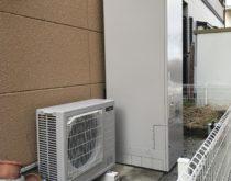 電気温水器からエコキュートにお取替え、取替までは仮設給湯器を設置