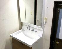 草津市、LIXILピアラへの洗面台交換事例(クリエペール)