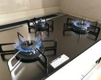 大津市ガスコンロ交換事例、ピアットワイドグリル(ノーリツ)を施工しました。